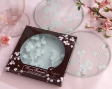 Cherry Blossoms Frosted Glass Coasters - Set of 2