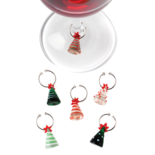 Christmas Tree Wine Charms - Glass