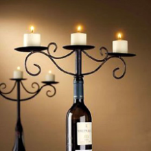 Wine Bottle Candelabra Antiqued