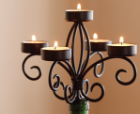 Wine candelabra with 5 votive candles