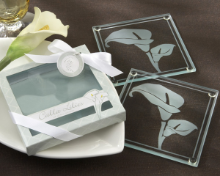 Calla Lillies Frosted Glass Coasters - Set of 2