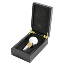 Golf Ball Wine Stopper in Black Wood Gift Box