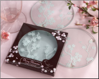 Cherry Blossoms Frosted Glass Coasters - Set of 2 (SKU: CCKA-27040NA)