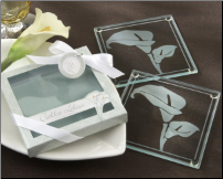 Calla Lillies Frosted Glass Coasters - Set of 2 (SKU: CCKA-27048GN)
