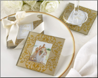 Golden Brocade Elegant Glass Photo Coasters (SKU: CCKA-27061GD)