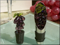 Murano Art Deco Glass Grape Wine Pourer/Stopper