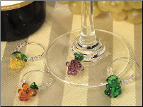 Murano Art Deco Grape Glass Wine Charms