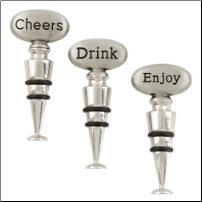 "Assorted ""Cheers"", ""Drink"" or ""Enjoy""  Stoppers (set of 3)"