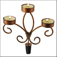 Copper Wine Bottle Candelabra with candles